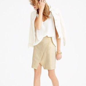 j. crew // metallic linen origami mini skirt gold